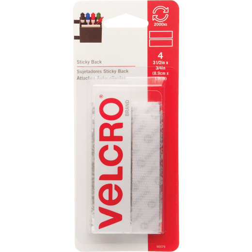 VELCRO Brand 3/4 In. x 3-1/2 In. White Sticky Back Hook & Loop Strips (4 Ct.)