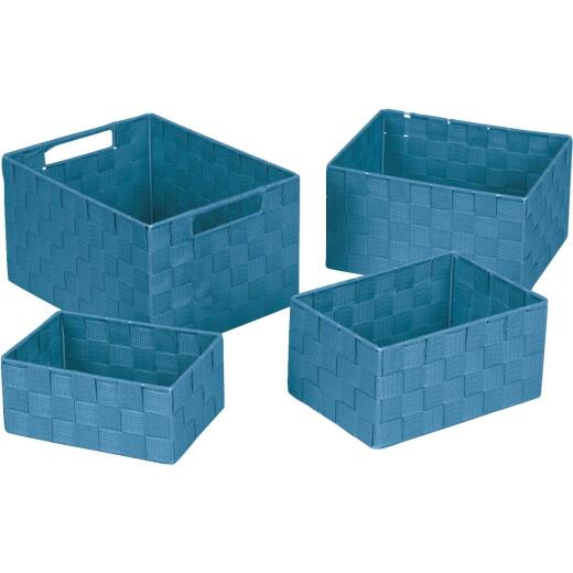 Home Impressions 4-Piece Woven Storage Basket Set, Blue