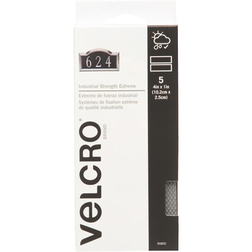 VELCRO Brand Industrial Strength Extreme Gray 1 In. x 4 In. Adhesive Hook & Loop Strip (5 Ct.)