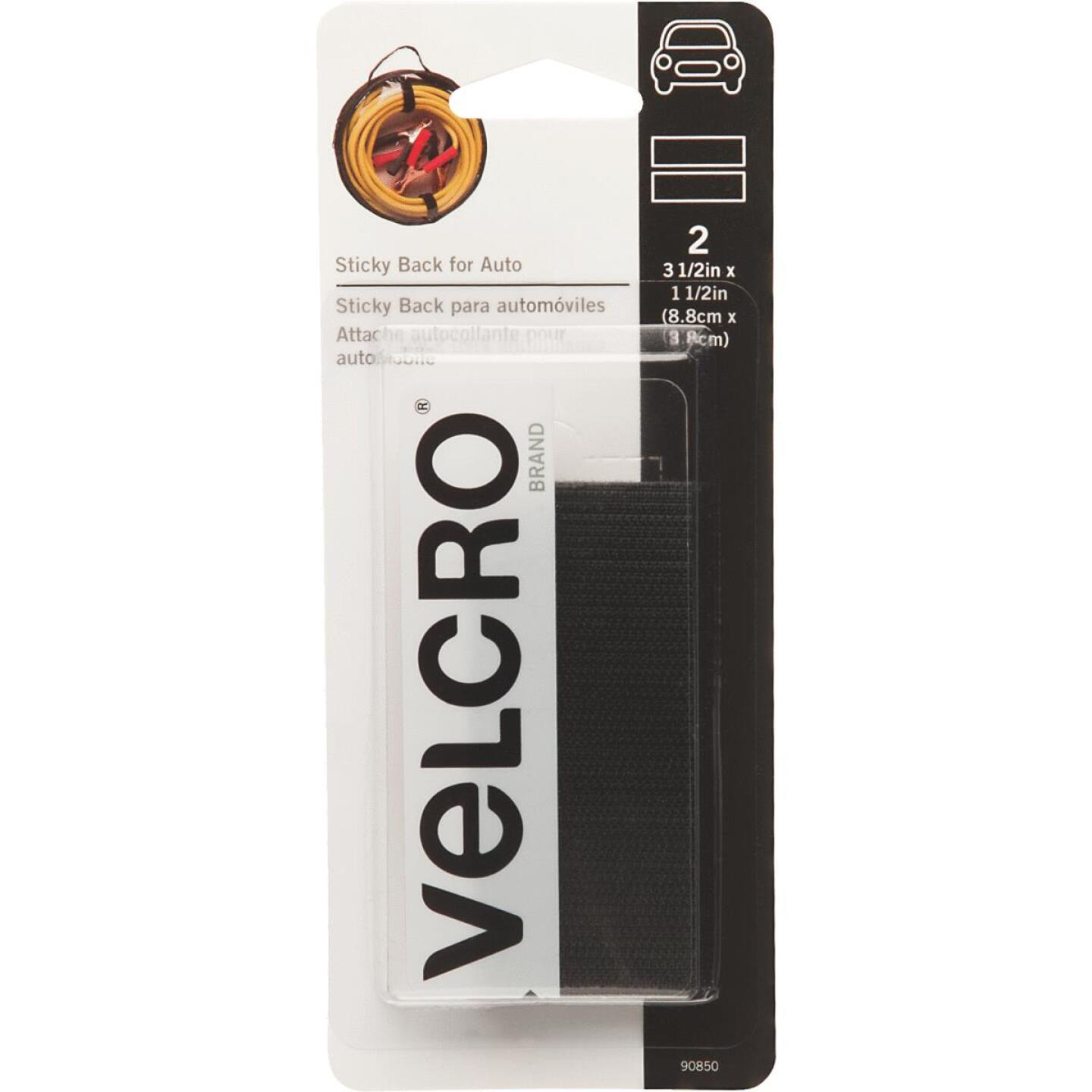 VELCRO Brand 1-1/2 In. x 3-1/2 In. Black Sticky Back For Auto Hook & Loop Strip (2 Ct.) Image 1