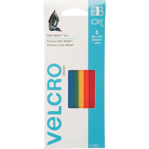 VELCRO Brand One-Wrap 1/2 In. x 8 In. Assorted Hook & Loop Tie (5 Ct.)