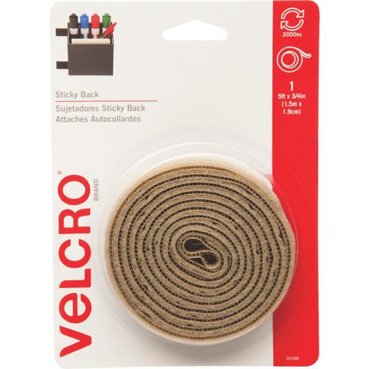 VELCRO Brand 3/4 In. x 5 Ft. Beige Sticky Back Reclosable Hook & Loop Roll
