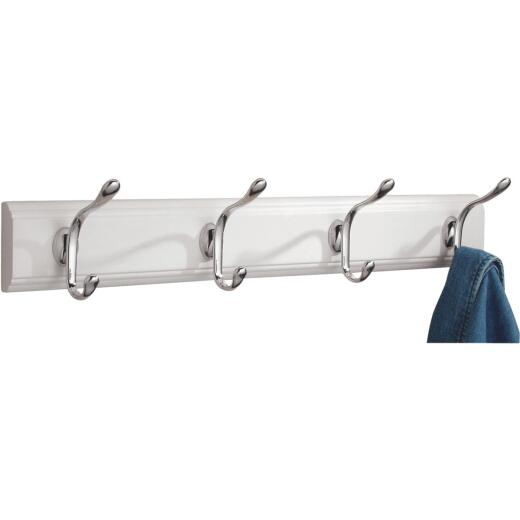 iDesign Paris White Wood 4-Hook Rack