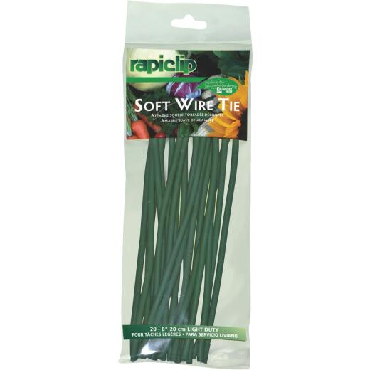 Rapiclip 8 In. Green Soft Wire Plant Tie (20-Pack)