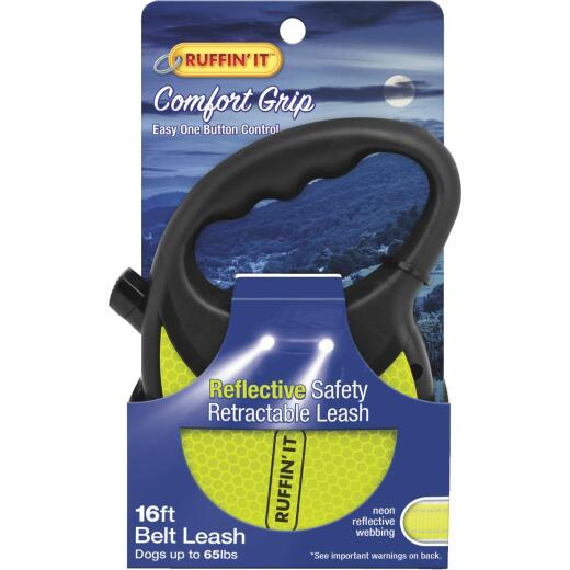 Westminster Pet Ruffin' it Up to 50 Lb. 16 Ft. Webbed Reflective Neon Yellow Retractable Leash