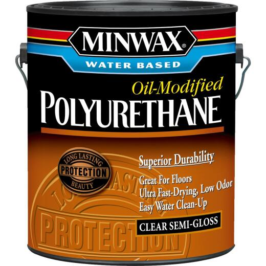 Minwax Semi-Gloss Water Based Oil-Modified Interior Polyurethane, 1 Gal.