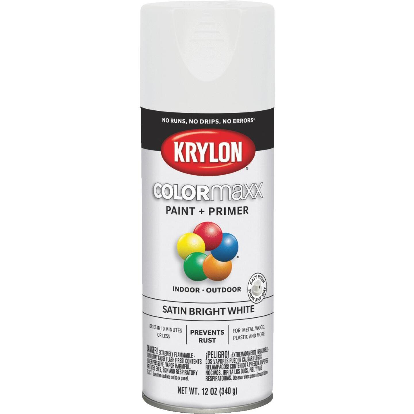 Krylon ColorMaxx12 Oz. Satin Spray Paint, Bright White Image 1