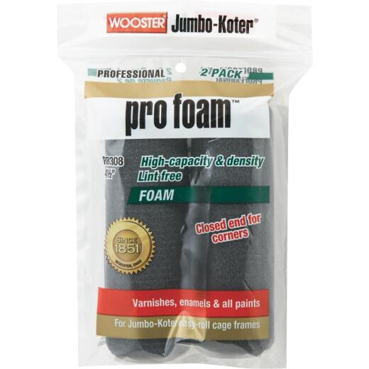 Wooster Jumbo-Koter 4-1/2 In. x 3/8 In. Pro Foam Mini Foam Roller Cover (2-Pack)