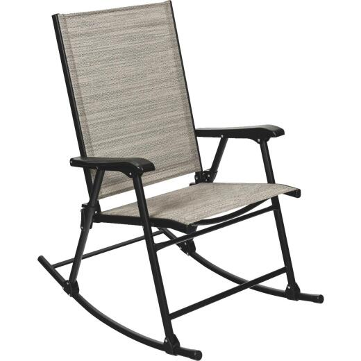 Outdoor Expressions Galveston Black Steel Rocking Chair