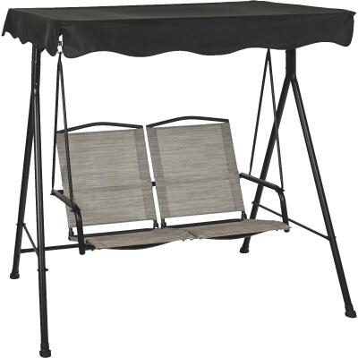 Outdoor Expressions 2-Person 61.61 In. W x 63.39 In. H x 47.64 In. D Gray Patio Swing