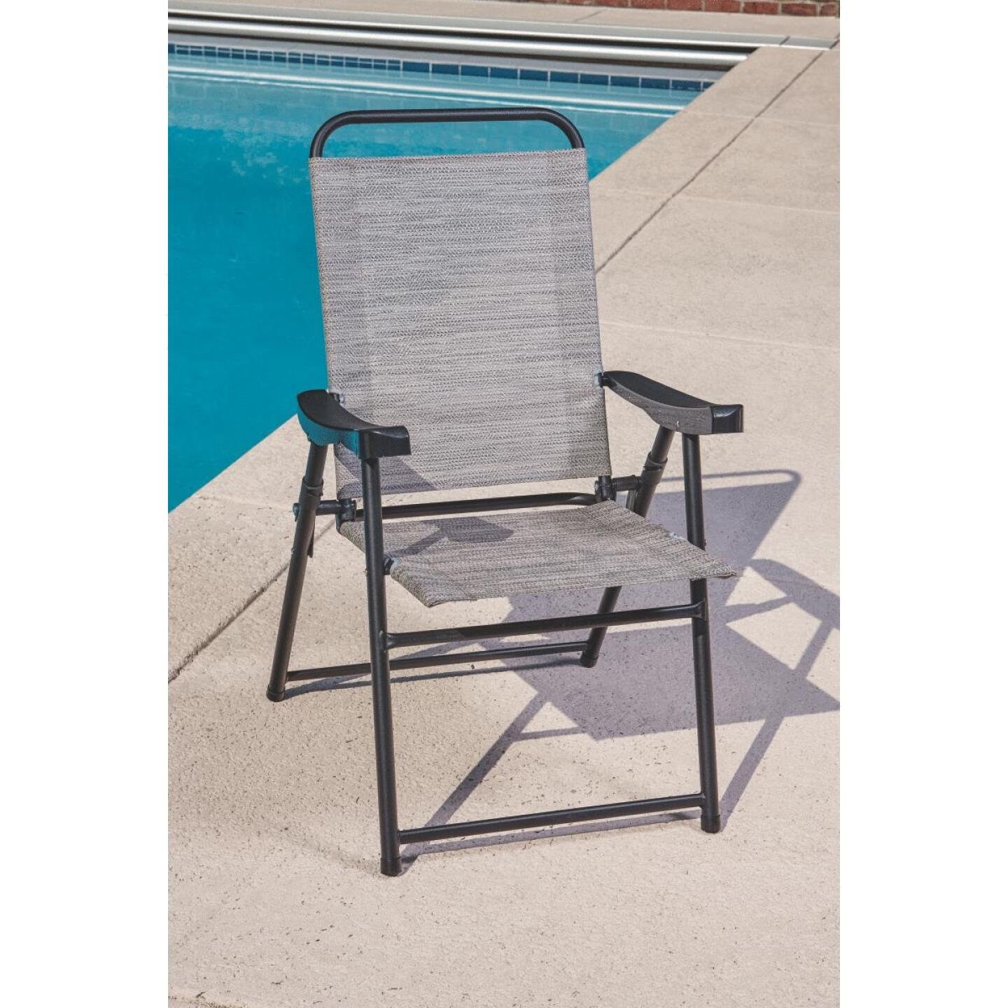 Outdoor Expressions Galveston Gray Sling Folding Chair Image 7