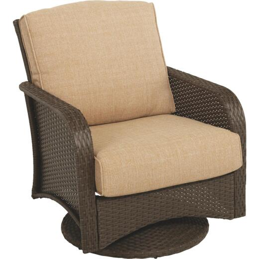 Pacific Casual Tiara Garden Brown Woven Wicker Garden Swivel Chair