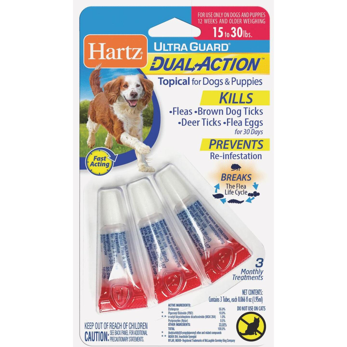 Hartz UltraGuard Dual Action 3-Month Supply Flea & Tick Treatment For Dogs & Puppies From 15 to 30 Lb. Image 1