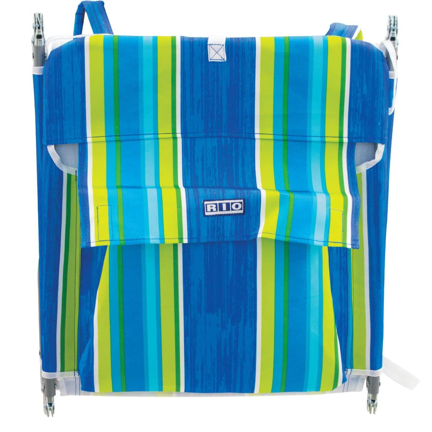 Rio Brands Beach Multiple-Position Blue & Green Striped Steel Folding Backpack Lounger Image 2