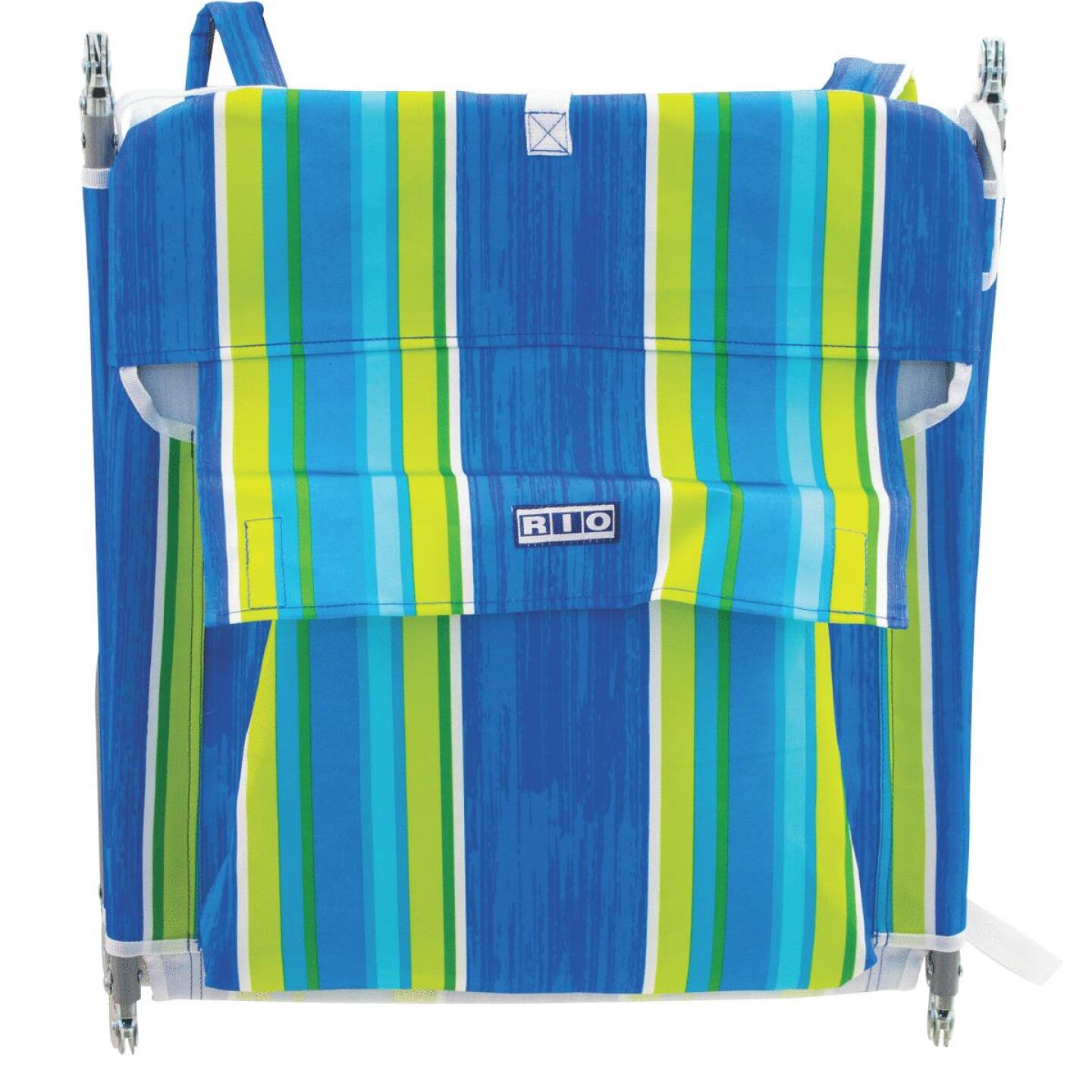 Rio Brands Beach Multiple-Position Blue & Green Striped Steel Folding Backpack Lounger Image 1