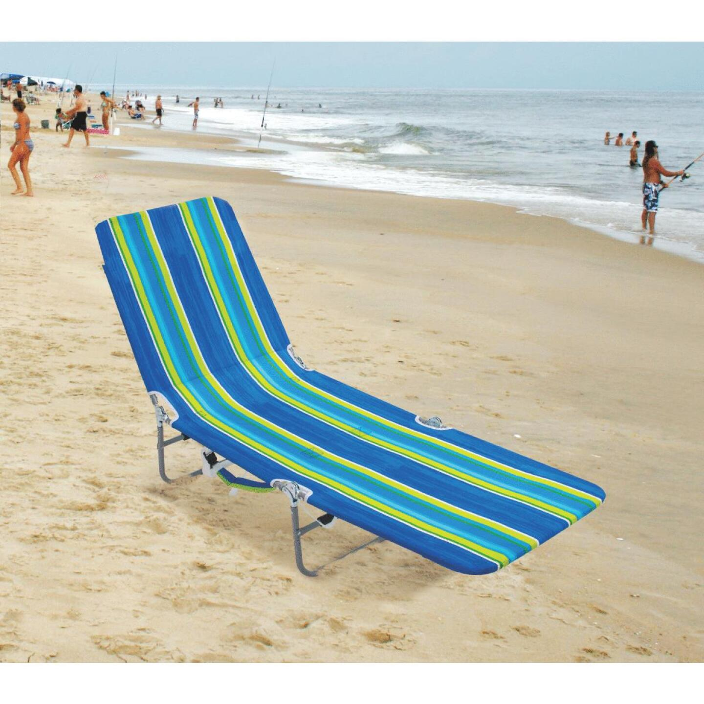 Rio Brands Beach Multiple-Position Blue & Green Striped Steel Folding Backpack Lounger Image 3
